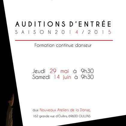 AUDITIONS D'ENTRÉE - Saison 2014 / 2015